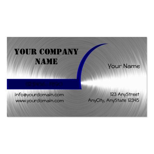 Azul y tarjeta de visita cepillada plata del metal