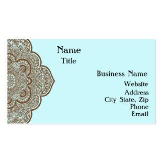 Azul y tarjeta de visita de la alheña de Brown