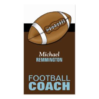 Azul y tarjetas de visita del entrenador de fútbol
