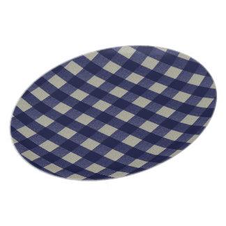 Azul y tela escocesa comprobada crema plato para fiesta