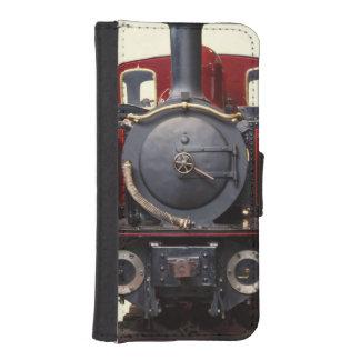 Azul y tren rojo carteras para teléfono