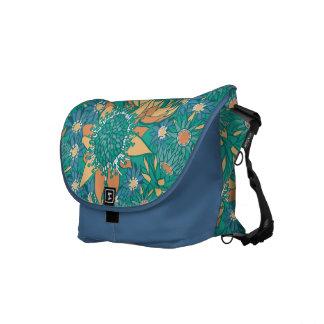 Azul y trullo hermosos de las flores de la bolsa d bolsas de mensajeria