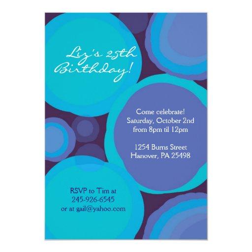 """Azul y trullo - invitaciones modeladas genéricas invitación 5"""" x 7"""""""
