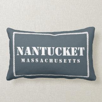 Azul y trullo reversibles de Nantucket Massachuset Cojín
