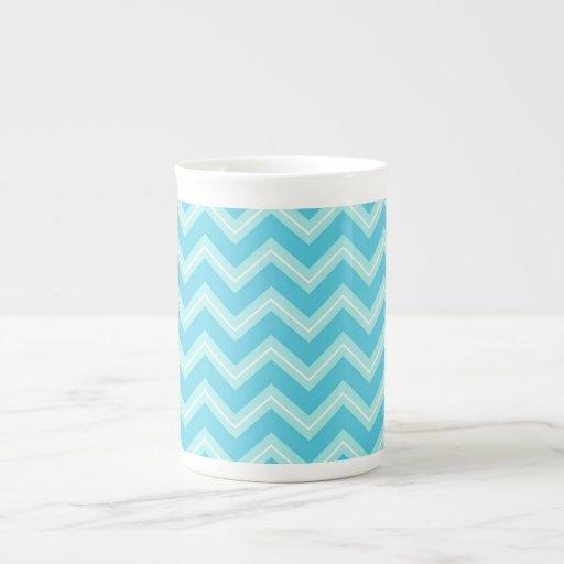 Azul y turquesa Chevron Taza De Porcelana
