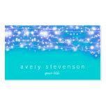 Azul y turquesa chispeantes de las estrellas festi tarjetas personales