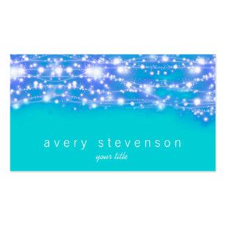 Azul y turquesa chispeantes de las estrellas tarjetas de visita