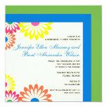 Azul y verde - la cena del ensayo del boda invita invitación 13,3 cm x 13,3cm