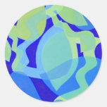 Azul y verde pegatina redonda