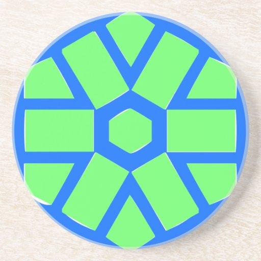 Azul y verde posavasos personalizados