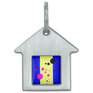 Azul y yelow con las burbujas rosado-negras placas de nombre de mascota