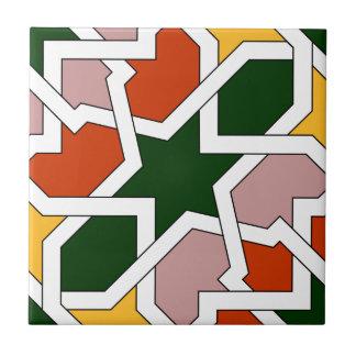 Azulejo 01 de geometría morisca verde y rojo en