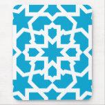 Azulejo azul de arabesco marroquí y mosaico mouse pads