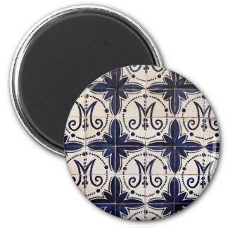 Azulejo del portugués del vintage imán redondo 5 cm