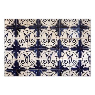 Azulejo del portugués del vintage impresión fotográfica