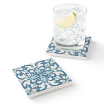 Azulejo Fleur De Lis Style Pattern Stone Coaster