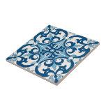 "Azulejo Fleur De Lis Style Pattern Tile<br><div class=""desc"">Portuguese Azulejo pattern with Fleur-de-lis element stylized lily composed of three petals bound together near their bases.</div>"