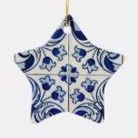 Azulejo Double-Sided Star Ceramic Christmas Ornament