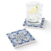 Azulejo Portuguese Floral Pattern Stone Coaster