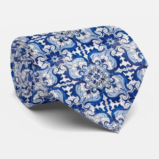 Azulejo Portuguese Pattern Mens Tie