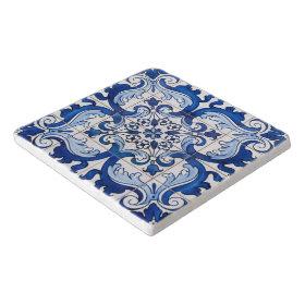 Azulejo Tile Floral Pattern Trivets