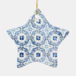 Azulejos, Portuguese Tiles Adorno Navideño De Cerámica En Forma De Estrella