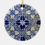 Azulejos, Portuguese Tiles Adorno Navideño Redondo De Cerámica