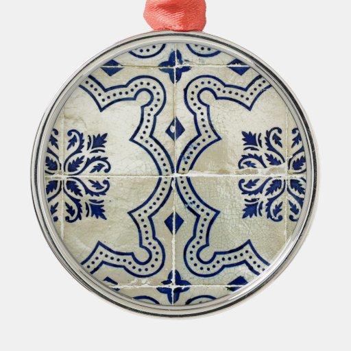 Azulejos, Portuguese Tiles Adorno Navideño Redondo De Metal