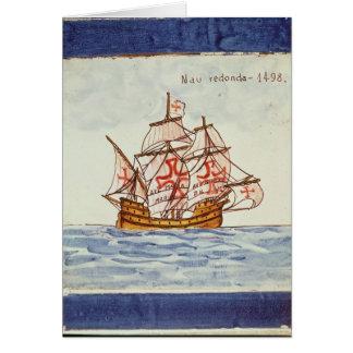 Azulejos tile depicting a ship, from Sagres Card