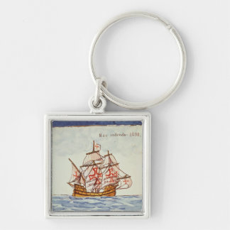 Azulejos tile depicting a ship, from Sagres Keychain