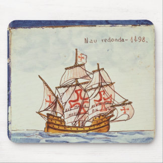 Azulejos tile depicting a ship, from Sagres Mouse Pad