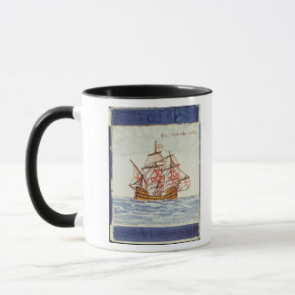 Azulejos tile depicting a ship, from Sagres Mug