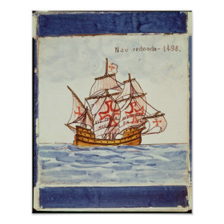 Azulejos tile depicting a ship, from Sagres Poster