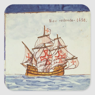 Azulejos tile depicting a ship from Sagres Square Stickers