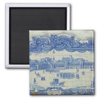 Azulejos tiles depicting the Praca do Comercio 2 Inch Square Magnet