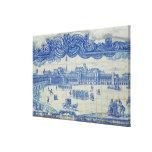 Azulejos tiles depicting the Praca do Comercio Gallery Wrap Canvas