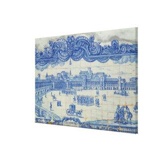 Azulejos tiles depicting the Praca do Comercio Canvas Print