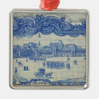 Azulejos tiles depicting the Praca do Comercio Metal Ornament