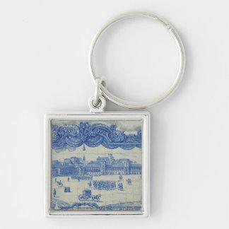 Azulejos tiles depicting the Praca do Comercio Silver-Colored Square Keychain