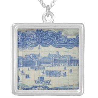 Azulejos tiles depicting the Praca do Comercio Silver Plated Necklace