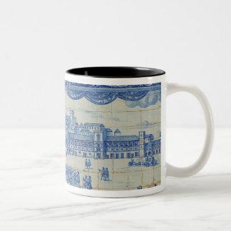Azulejos tiles depicting the Praca do Comercio Two-Tone Coffee Mug