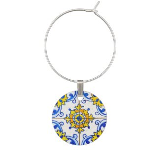 Azulejos Tiles Pattern Wine Glass Charms