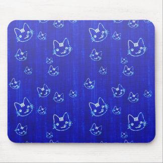 Azules añiles japoneses lindos frescos del neko de tapete de raton