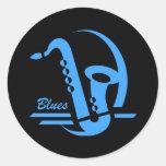 Azules azules del saxofón etiquetas redondas
