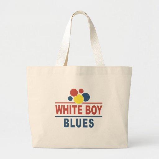 Azules blancos del muchacho bolsa tela grande