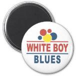 Azules blancos del muchacho imanes de nevera