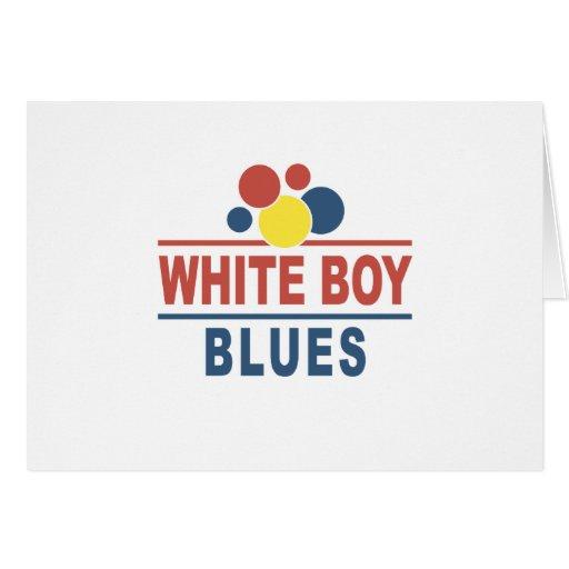 Azules blancos del muchacho tarjeta de felicitación