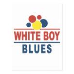 Azules blancos del muchacho tarjeta postal