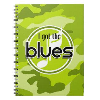 Azules; camo verde claro, camuflaje libreta