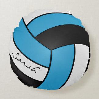 Azules cielos, nombre blanco y negro del voleibol cojín redondo